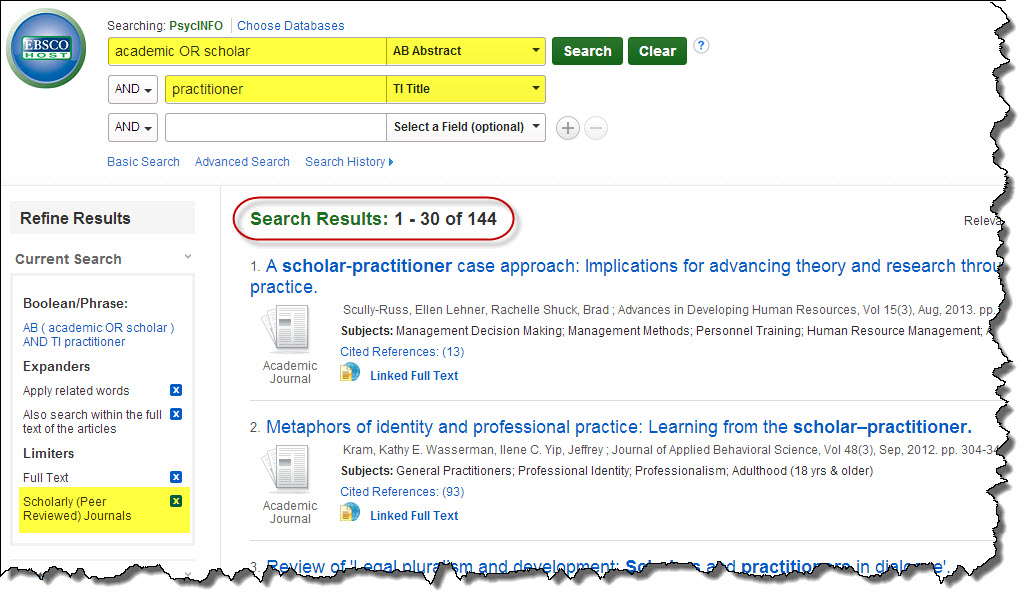 Screenshot of search in PsycINFO for practitioner scholar assignment.