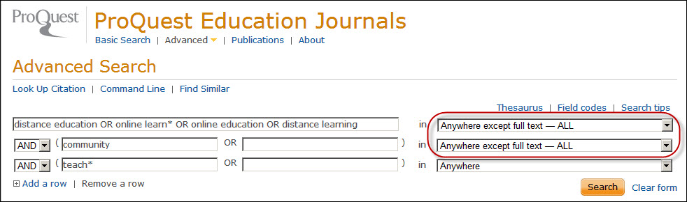 "Screenshot of online learning search strategy in ProQuest Education Journals.  The search field ""Anywhere except full text - ALL"" is selected."