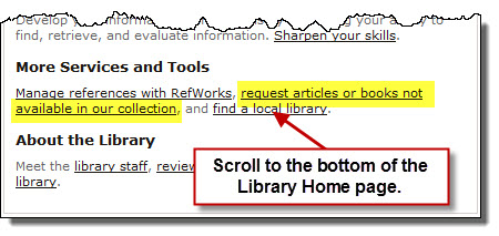 Link on library homepage to access interlibrary loan page