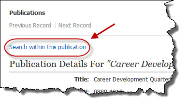 Screenshot of Journal Record in Business Source Complete. Click Search within this publication.