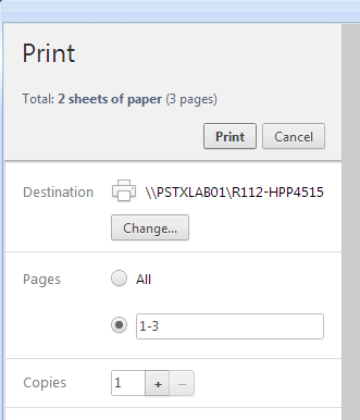 Screenshot showing how to print custom page range in google chrome