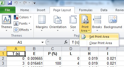 Screenshot of 'print area' button in excel