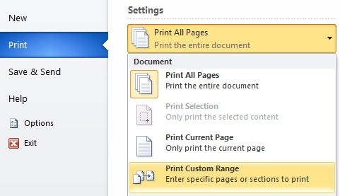 Screenshot showing how to print custom page range in Microsoft Word