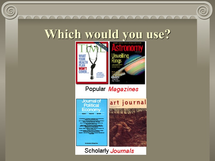 Images of scholarly and popular journals