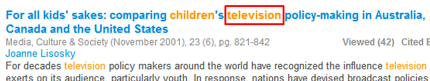 Screenshot of an article citation with the word television highlighted