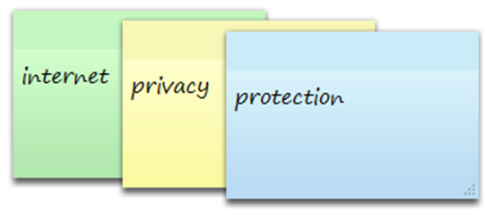 Image of the keywords: internet, privacy, and protection