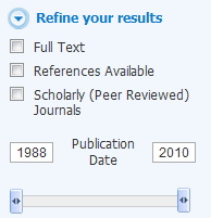 Image of Showing Facets to Refine a Search to Peer-Reviewed Publications
