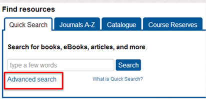 Image of Quick Search bar on the library homepage with the advanced search option highlighted