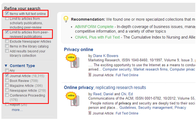 Image highlighting options to refine or limit your search in Quick Search