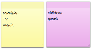 Image of similar words: television, tv, and media. Children, and youth