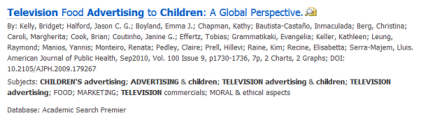 Screenshot of an article citation