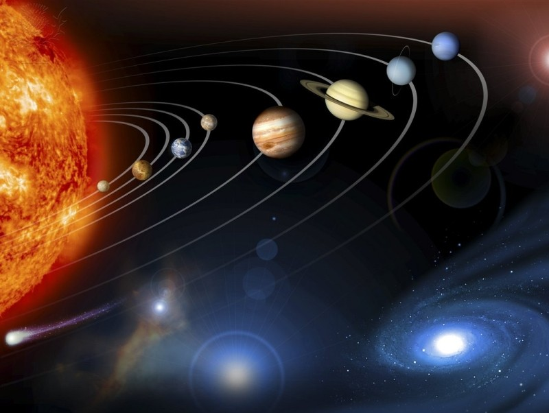 Solar system planets. Computer artwork of the eight planets of the solar system, which are arrayed from left to right in order of distance from the Sun (left). The four small rocky planets of the inner solar system are Mercury, Venus, Earth and Mars. The four large gas giant planets of the outer solar system are Jupiter, Saturn, Uranus and Neptune. Pluto was re-categorised as a Dwarf planet in 2006, so it is not included here. At lower right is a galaxy, and a small celestial body (an asteroid or comet) is seen at lower left.