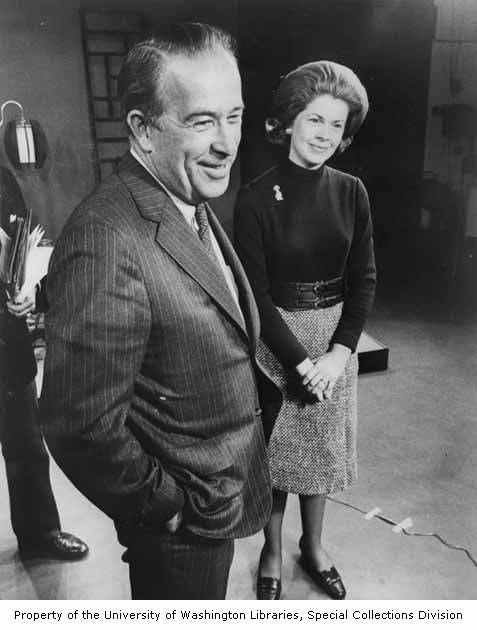 Senator Henry M. Jackson and his wife, Helen Hardin, on a television set after a show taped by WEAU-TV, during Jackson's bid for the Democratic presidential nomination, Wisconsin, 1971