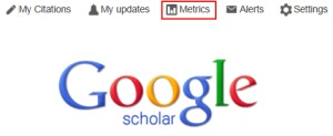 Selecting the 'Metrics' link [Google and the Google logo are registered trademarks of Google Inc., used with permission]