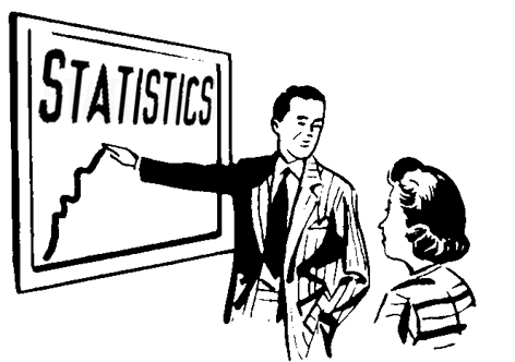 Person pointing to a statistical chart