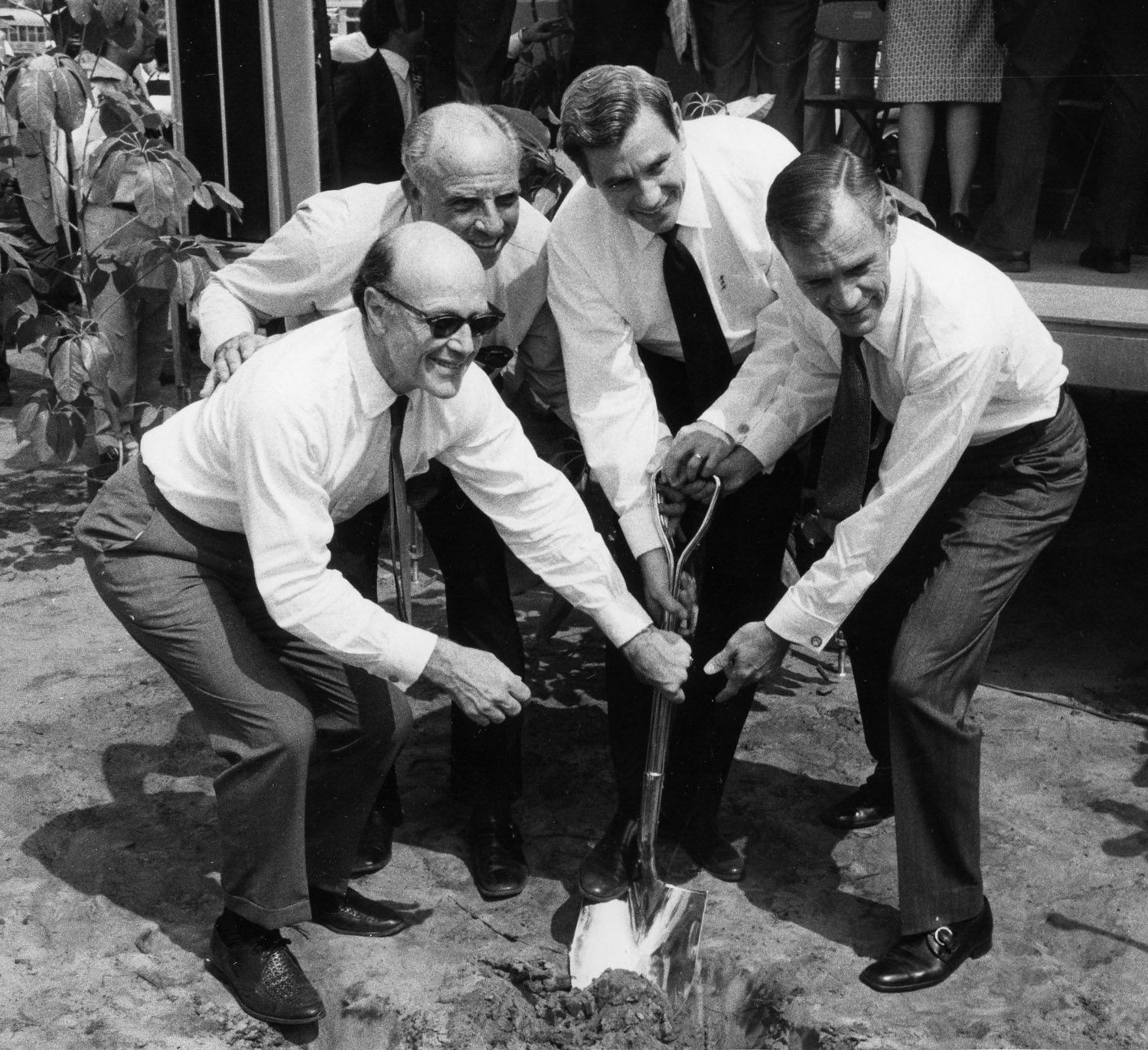 UNF Groundbreaking Ceremony, September 18, 1971. l-r: Chancellor Robert Mautz, Commissioner Floyd Christian, Governor Reubin Askew, UNF President Thomas G. Carpenter