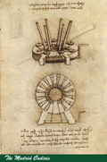 Page from the Madrid Codice. Shows drawing of textile machine.