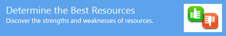 Determine the Best Resources - Discover the strengths and weaknesses of resources.