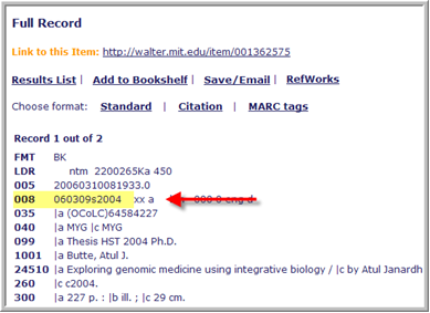 click MARC tags