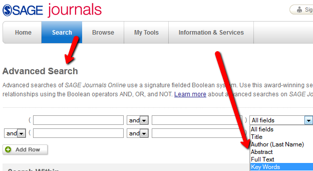 example of search fields found in a database advanced search