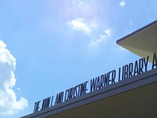 Front of the Warner Library and Student Center