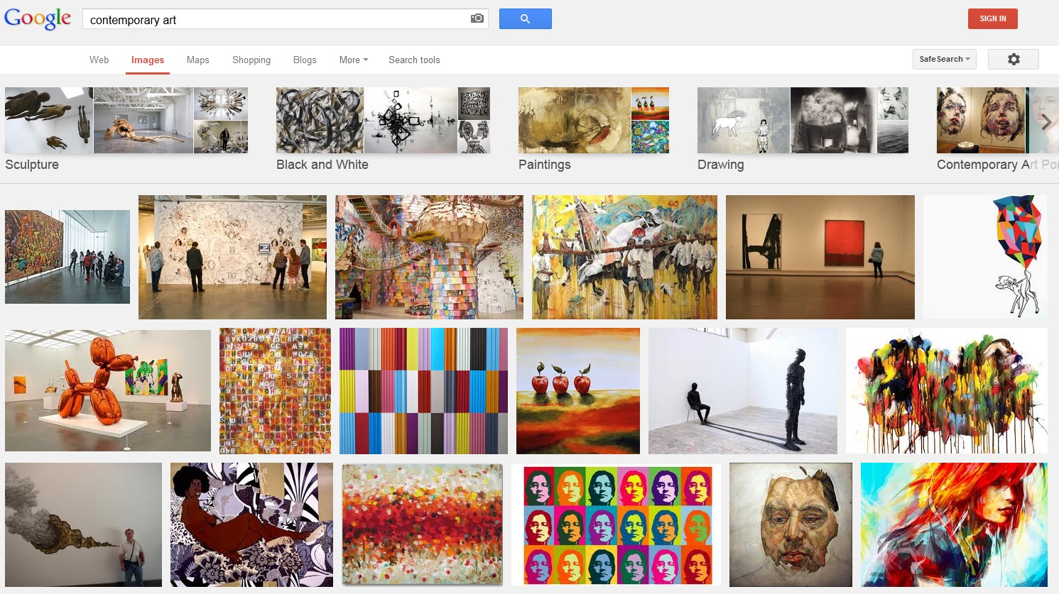 Picture of results from a Google Image search for Contemporary Art