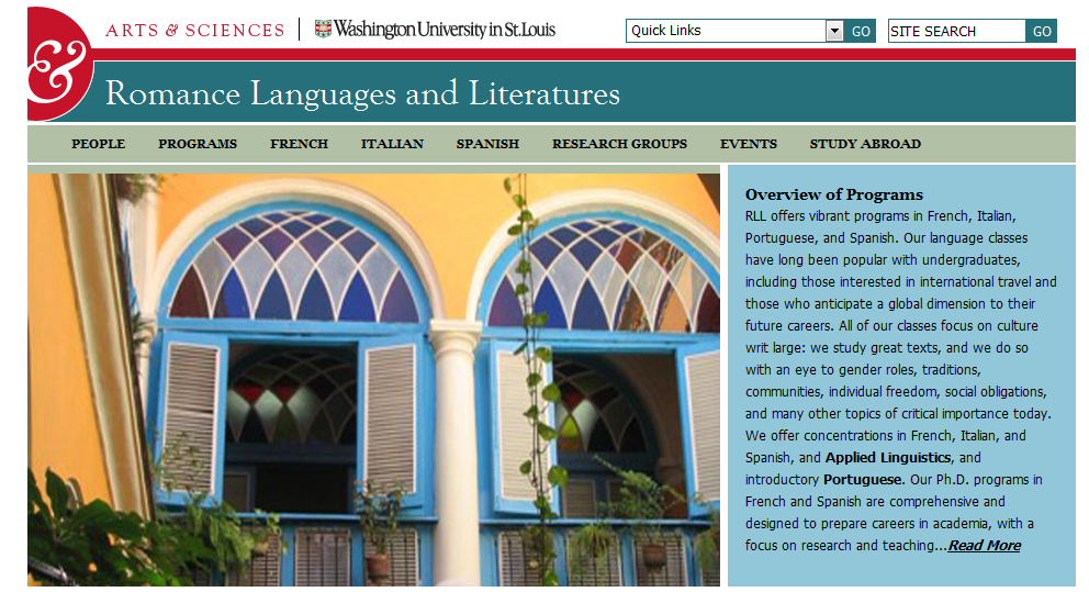 Screenshot of RLL website