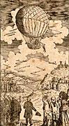 Voyage fait dans l'air au moïend'un globe aérostatique par Mr Charles, savant physicien de Paris, le 1er décembre 1783, estampe