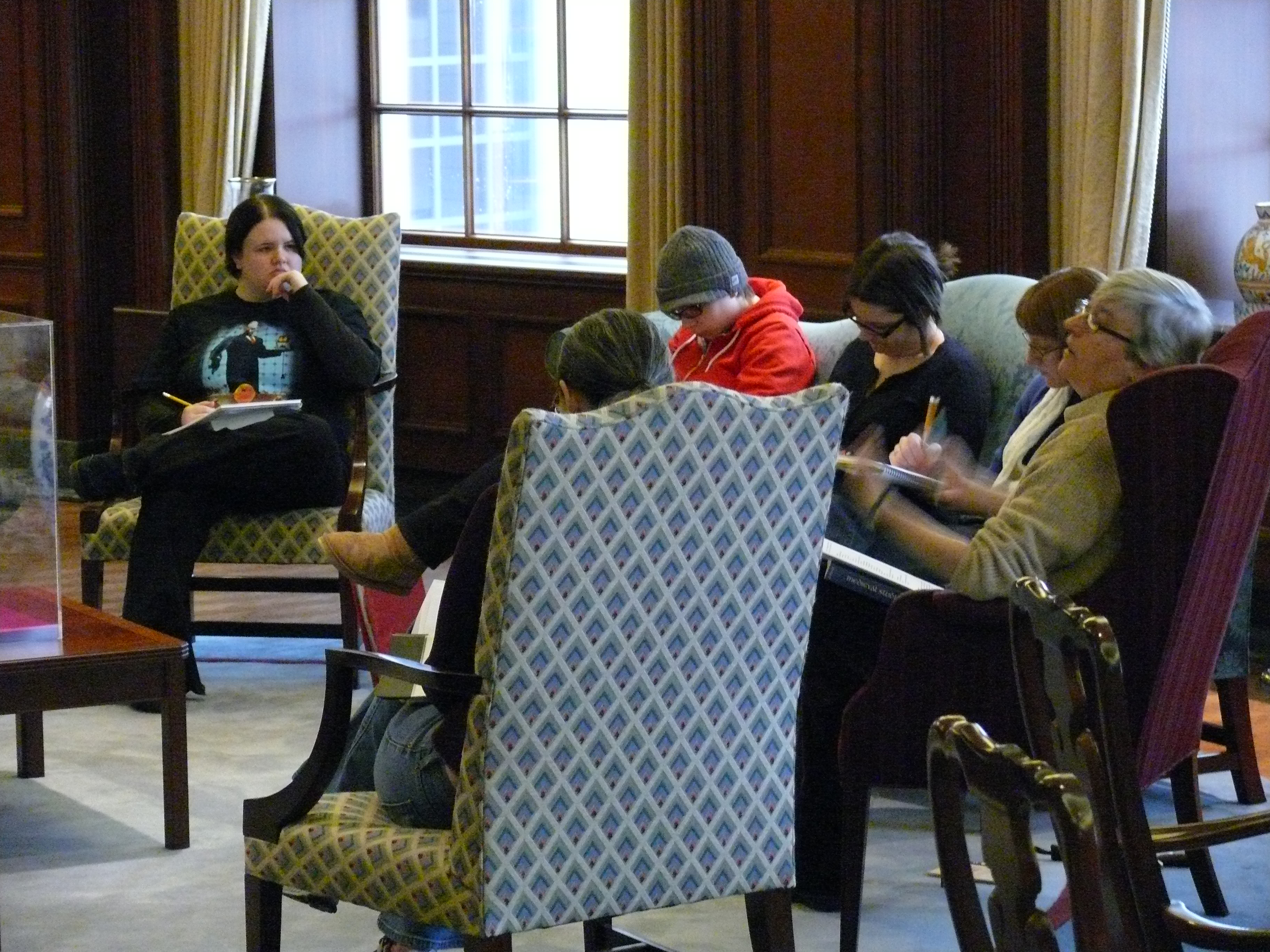 Student in-class discussion in Rare Book Room