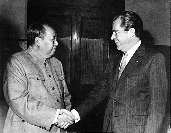 President Nixon shaking hands with Chairman Mao, 1972.