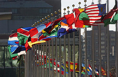 flags flying at the UN