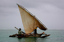 sailboat off the coast of Zanzibar