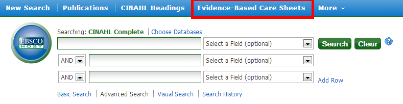 EBSCOhost Screen Shot on Evidence-Based Care, Where to Find