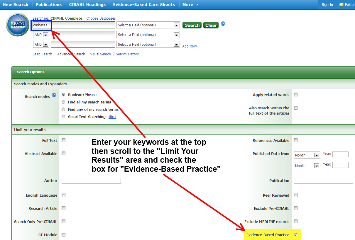 EBSCOhost Screen Shot on Evidence-Based Practice