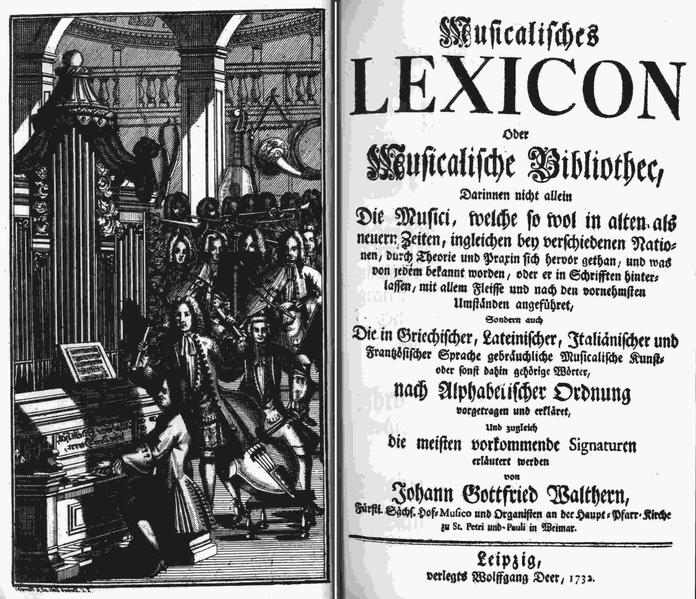 First music dictionary in German, 1732 (courtesy Wikimedia Commons)