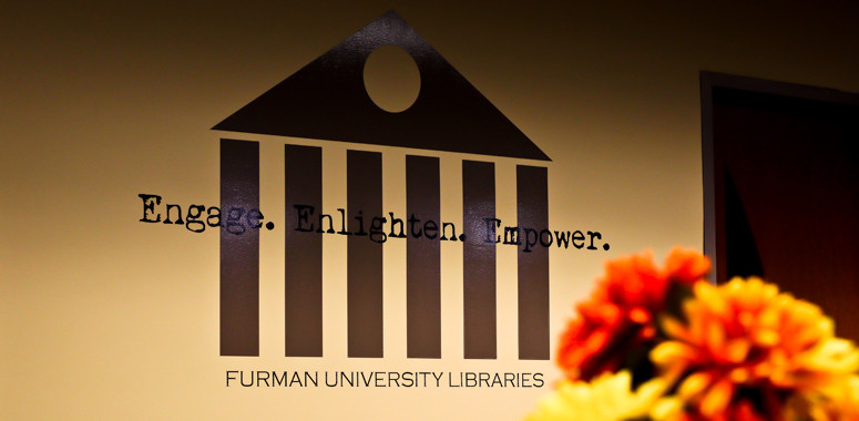 Library Logo on a Wall in Furman's James B. Duke Library