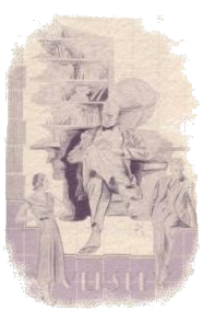 Old drawing of man reading