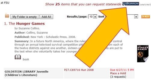 Arrow pointing to UBorrow link in catalog