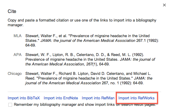 Screenshot of Import to RefWorks option in Google Scholar
