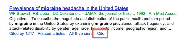 Screenshot of Cite button in Google Scholar