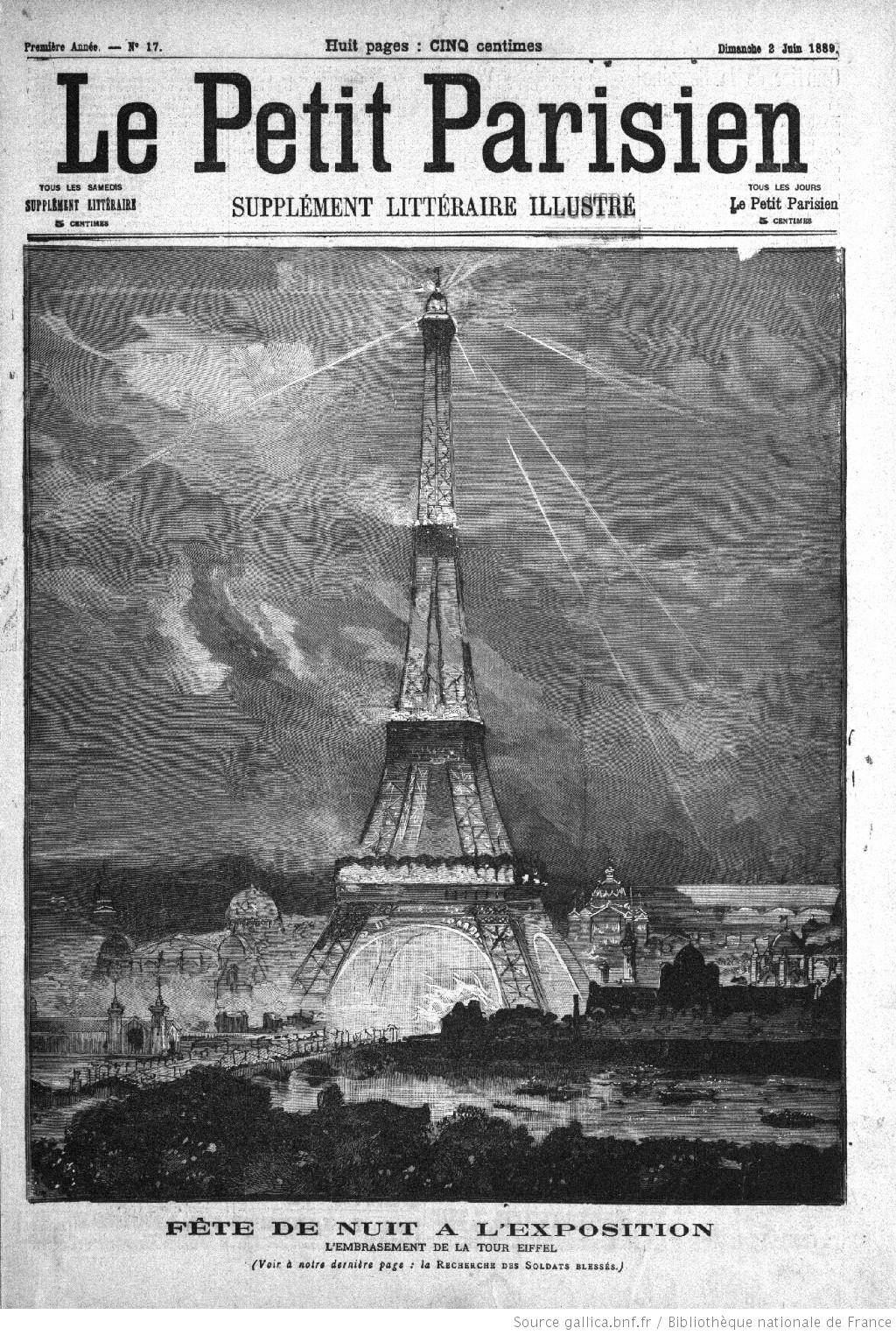 Drawing of the Eiffel Tower in an 1889 edition of Le Petit Parisien newspaper