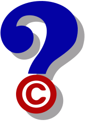question mark and copyright symbol