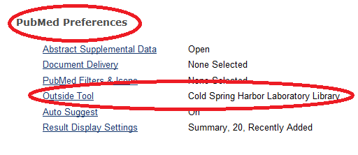 Pubmed Preferences - Outside Tool