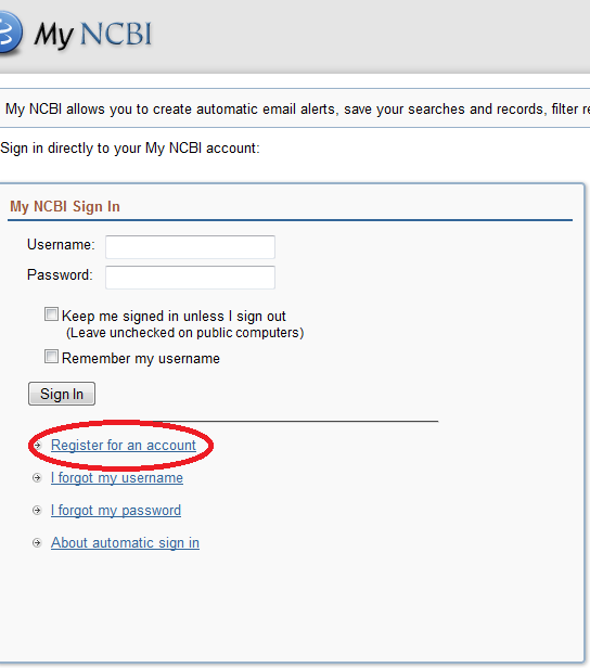 Registration Form for MyNCBI