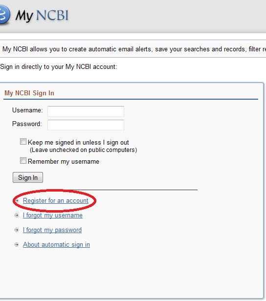 Registration Form for MyNCBI