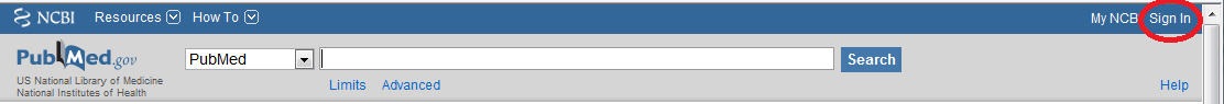 PubMed-MyNCBI Sign-In New User Panel