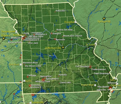 A map of the principal civil war sites