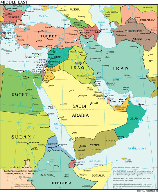 Middle East Political Map, CIA World Factbook