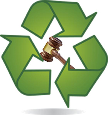 gavel inside recycling symbol