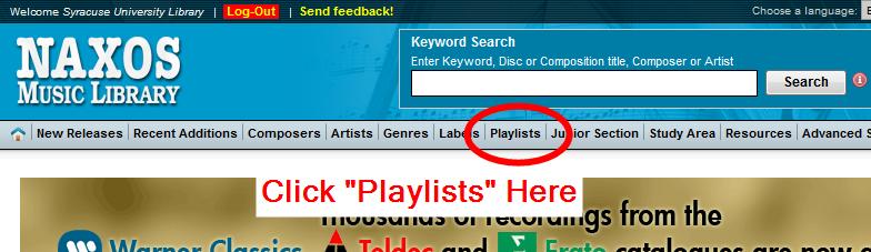 Playlists link screenshot